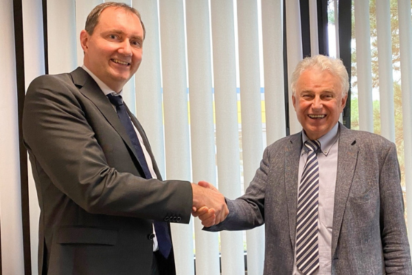 Digatron Founder & Chairman handing over the office of CEO & MD to Holger.